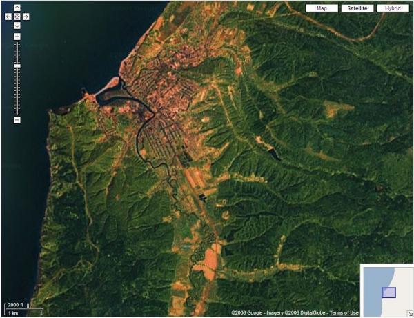 Вид города из космоса